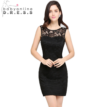 Babyonline Sexy Black Lace Cocktail Dresses 2017 O-Neck Sleeveless Summer Lady Mini Party Dresses robe de cocktail(China)