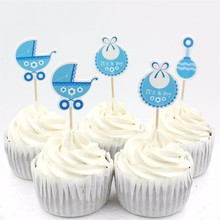 18pcs/lot Baby Wagon Party cupcake toppers picks decoration for Kids Birthday party Baby Shower Cake favors Decoration supplies