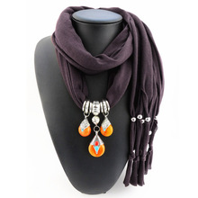 Woman's Beeswax Beads Pendant Scarf Polyester Solid Fringed Long Scarf Neckerchief(China)