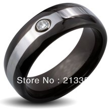 Free Shipping Buy Cheap Discount Price USA HOT Selling 8MM Men&Womens Black Dome With Zircon Two Tone Tungsten Wedding Rings
