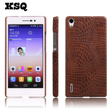 KSQ Luxury Crocodile Pattern Case For Huawei Ascend P7 PU Leather Phone Case For Huawei Ascend P7 Cell Phone Back Cover Case(China)
