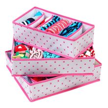 3Pcs/Set Collapsible Home Organizer Storage Boxes Sets Non-Woven Organization Draw Divider Container For Ties Socks Shorts Bra(China)