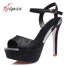 Big size 33-44 DIFUNE 2016 New Sale Sexy Women Sandals Black glitter Ladies thin High Heel Shoes for women party club sandals