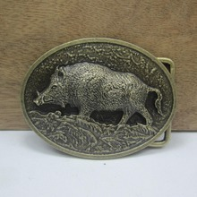 Bullzine wholesale wild boar belt buckle with antique brass finish FP-03570 suitable for 4cm wideth snap on belt free shipping(China)