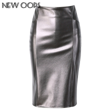NEW OOPS Women Faux Leather slim High Waist Skirts 2017 Casual Tube Wrap Bodycon PU Pencil Skirts Midi Saias Femininos A1702031(China)