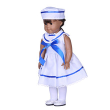 Hat+ dress navy uniform Doll Clothes Wear fit 18inch American girl Doll Clothes,Children best Birthday Gift B368(China)