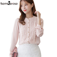 Bamskarosa Autumn Women Blouses Long Sleeve Shirt 2017 Pink White Fashion Lace Tops Clothing Ladies Office Blouse High Quality(China)