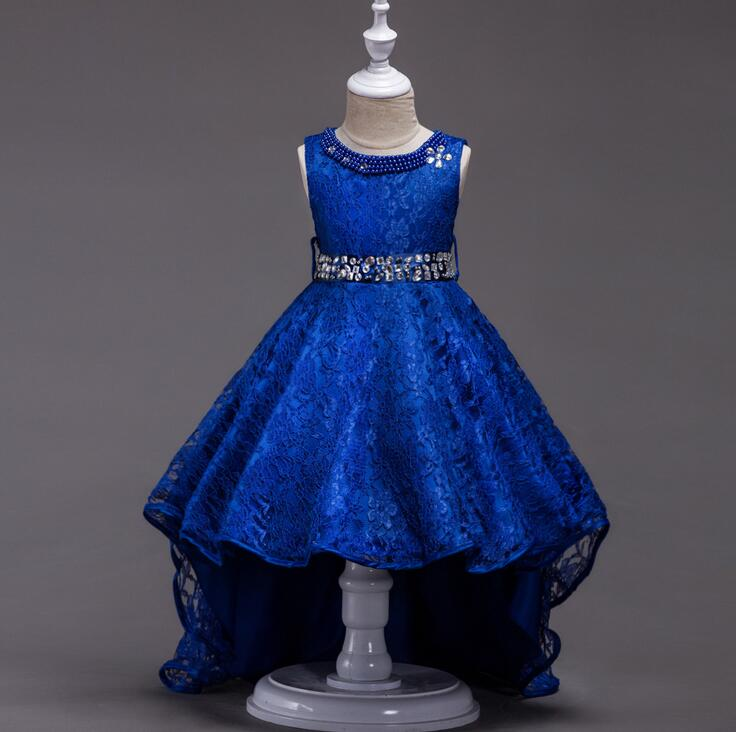 Royal blue Claret red Long tail floor-length scoop o-neck holy communion tutu prom kids communion flower girl pagent dress<br>