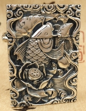 CQD 5.5*4*1.8cm Six carved reliefs S925 sterling silver hand carved fish lighters(China)