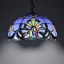 Tiffany Pendant Light Baroque Style Hanging Lamp 12 Inch Stained Glass Suspended Luminaire E27 110-240V(China)