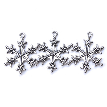 10pc/lot  29mm x21.5mm Snowflake Charms Antique Silver Tone  for DIY charm bracelet  necklaces & pendants jewelry accessories