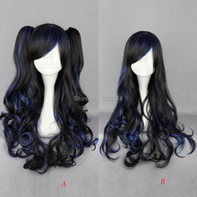 MCOSER Women's Harajuku 2 Style Cosplay Long Curly Black Mixed Blue Synthetic hair Lolita Party Ponytail Wig