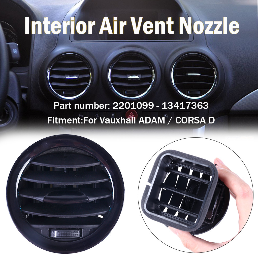 2007-2014 VAUXHALL CORSA D BLACK DASHBOARD HEATER VENT COMPLETE BLACK KNOB