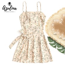 AZULINA Women Dress Bowknot Cut Out Tiered Mini Dress Girls Clothing 2018 Summer Beach Dresses Spaghetti Strap Hollow Out Robe(China)