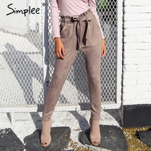 Simplee Suede high waist pencil pants capris Women bottom sash streetwear casual pants 2017 Autumn chic black winter trousers(China)