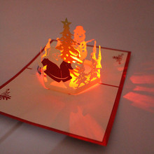 Santa Claus Pop Up Greeting Cards Postcards With LED Christmas Music Origami Paper Craft Handmade Gift Souvenir