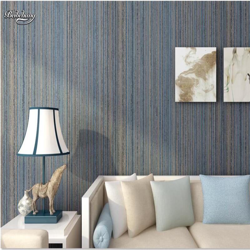 beibehang Modern simple plain art fine fine vertical wallpaper wallpaper bedroom American retro color wallpaper<br>