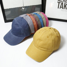 High Quality Plain Dyed Sand Washed 100% Soft Cotton Cap Sport Hat Gorras Snapback Cap Outdoor Sun Hat For Women Caps(China)