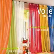 OEM size Europe Gauze curtain, polyester Voile window curtain with hanging loop,20 kind of color to choose