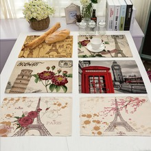 42X32CM Table Napkins Mix 22 Style Beautiful Rose Eiffel Tower Images Linen Dinner Table Napkins Tea Coffee Towel Table Decor