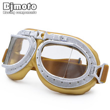BJMOTO 2017 Winter WWII Vintage Motorcycle Gafas Motocross Goggle Glasses Old School Pilot Biker Jet Aviator Retro For Harley(China)