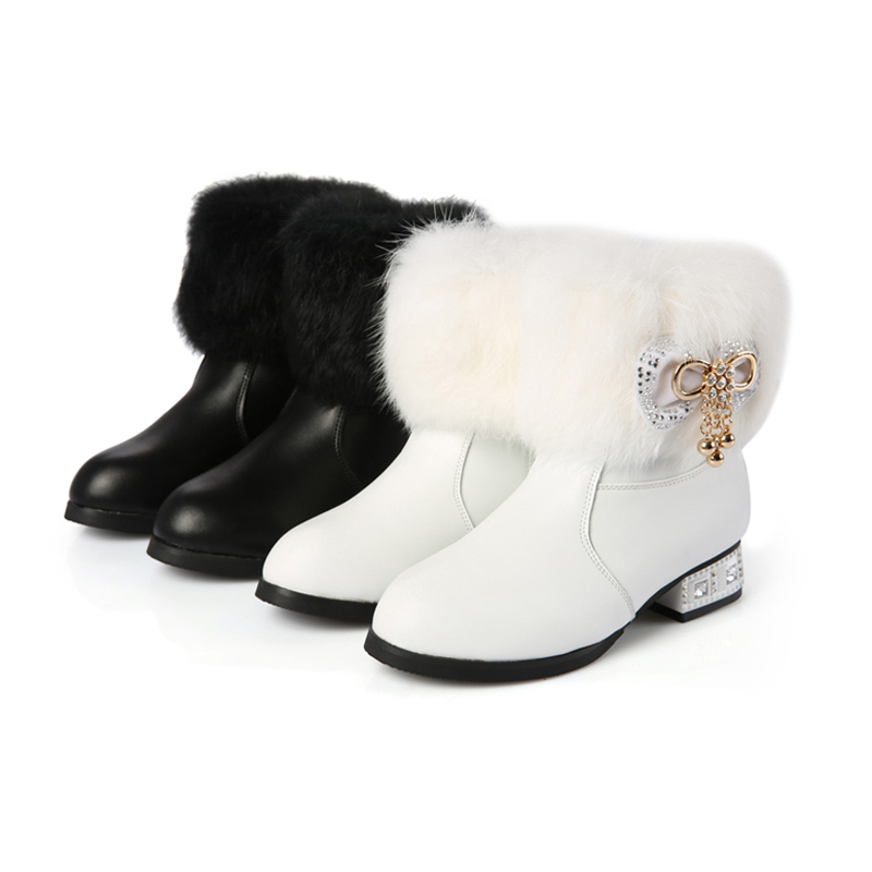 2017 Nauhutu winter boots girls children fashion snow shoes real fur collar decoration kids warm footwear in black white boot<br>
