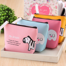 Sweet Candy Color PU Leather Animals Cartoon Change Purse Hand Storage Bag Headphones Rack Package