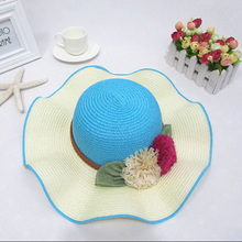 2017 New Hot Sale Falbala Sun Hats For Women Summer Fashion Linen Straw Hat Flower Caps 6 Colors 6127