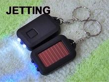 Fast shipping New Arrive Portable Mini Solar Power Rechargeable LED Flashlight With Keychain(China)
