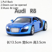 1:32 Scale/DieCast Netal Model/Audi R8 Super Sport Car/Lighting & Music/Toy for children's gift/Educational Collection/Pull back(China)