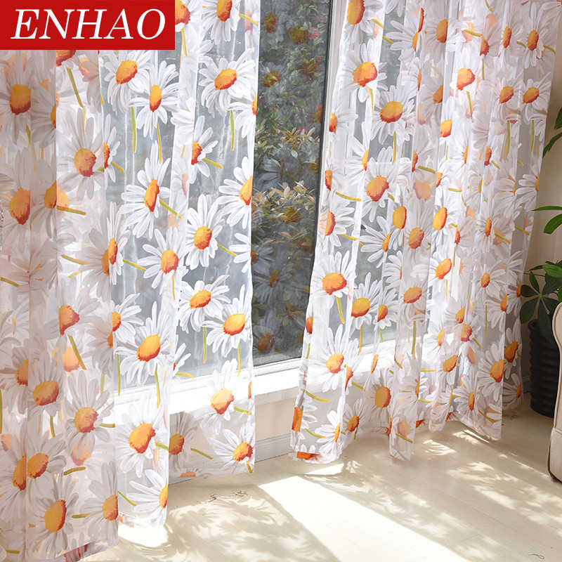 ENHAO Modern Floral Tulle Curtains for Living Room Bedroom Kitchen Luxury Sheer Curtains for Window Tulle Curtains Fabric Drapes