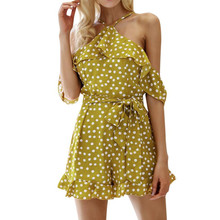 Buy NEW Fashion Dot Printed Chiffon Jumpsuit Women Sexy Sleeveless Halter Beach Playsuit Shorts Ladies Casual Boho Mini Rompers #JO