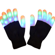 1 Pair Colorful LED Rave Flashing Gloves LED Lighting Mittens Toy Finger Gloves For Light Show Halloween Christmas Parties
