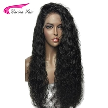 Carina Hair 180% Natural Color Kinky Curly Glueless Lace Front Wigs for Black Women Pre Plucked Brazilian Non-Remy Human Hair(China)