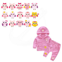 15pattern/pcs Iron on patch cute Pink owls girls stickers child T-shirt Sweater thermal transfer paper Patch for clothing(China)