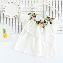 5a125 Embroidery Baby Girls t Shirts Girl Tops For Kids Girls T-shirt in lot children Clothing wholesale kids toddler clothes(China)