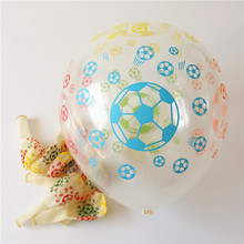 Free Shipping! transparent latex Printed Balloon (50 pieces /lot )12'' round playing football Birthday Party or Celebration