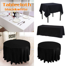 Table Cloth Round/Circle Square Rectangle Tablecloth White & Black for Banquet Wedding Party Decoration Table Cover Nappe