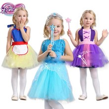 Baby girls snow White Belle Rapunzel princess apron TuTu dress Elsa Anna Dance clothes pinafore Kids Halloween costume S057
