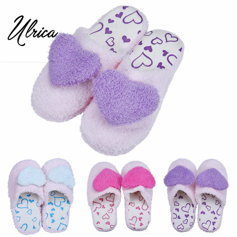 Ulrica Retail Heart Lovely Soft Lovers Men Women Home Floor Soft Cotton-padded Warm Autumn/Winter Slippers Shoes Fast Shipping<br><br>Aliexpress