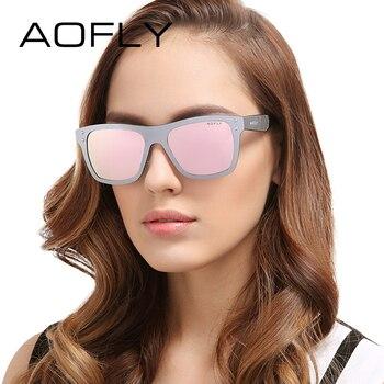 Aofly projeto original mulheres óculos de sol uv400 espelhado lentes quadro óculos de sol marca de óculos da moda decoração com caso af6024