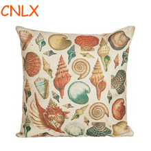 Mediterranean Style Sea Shell Series Linen Decorative Throw Pillow Cushion Home Chair Backrest Pillow Free Shipping(China)