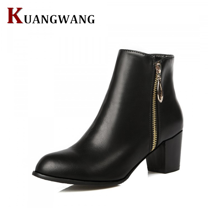 Autumn and winter women shoes vintage Europe star fashion women high heels Ankle boots Snow short boots zipper plus size 34-43<br>