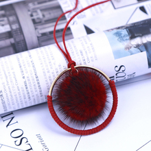 Large Golden Circle Plush Fur Pompom Ball Pendant Necklace For Women Girls Winter Sweater Chain Choker Jewelry Accessories Gift(China)