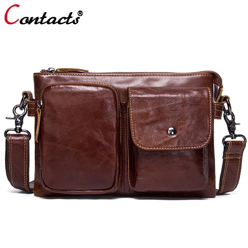 CONTACTS genuine leather men messenger bag Tablets men bag briefcase Shoulder messenger bag men leather men travel bags vintage<br>