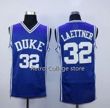#33 Grant Hill #32 Christian Laettner Duke Blue Devils Throwback Jers Retro Basketball Jersey New Material Top quality embroider(China)
