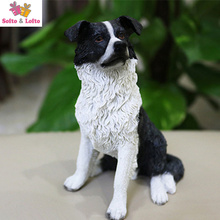 13cm Border Collie dog artificial figure,real like car styling rdecoration,Christmas gift toy doggy, puppy pet cake decorations(China)