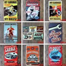 5pcs/Lot Car Garage Vintage Tin Sign Street Rod Metal Poster Iron Painting Decorative Plates Home Office Decor Bar Board 20x30cm