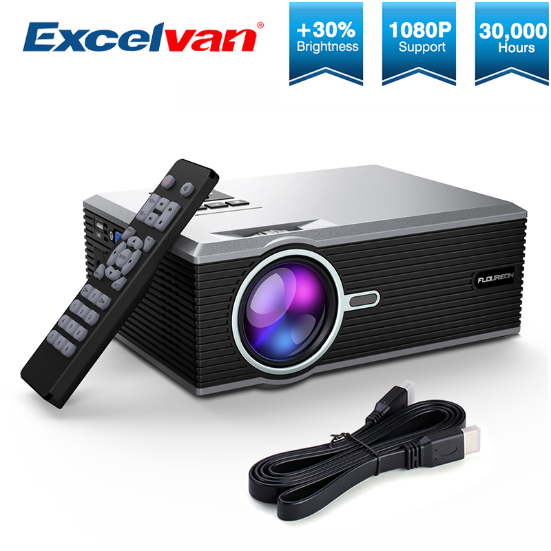 Excelvan FLOUREON Portable Mini LED Cinema Video Digital HD Home Theater Projector BL88 4K Beamer Proyector with USB HDMI