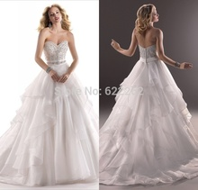 Top Quality A Line Sweetheart Sweep Train White Tiered Organza Wedding Dresses Crystal Design Wedding Gowns